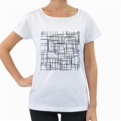 Structure Pattern Network Women s Loose Fit T Shirt (white)