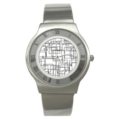 Structure Pattern Network Stainless Steel Watch