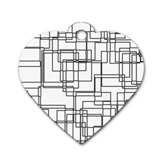 Structure Pattern Network Dog Tag Heart (two Sides)