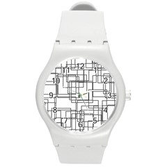 Structure Pattern Network Round Plastic Sport Watch (m)