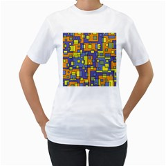 Square Background Background Texture Women s T Shirt (white) (two Sided)