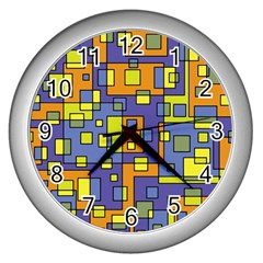 Square Background Background Texture Wall Clocks (silver)