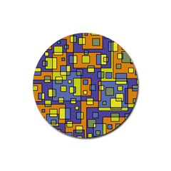 Square Background Background Texture Rubber Round Coaster (4 Pack)