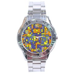 Square Background Background Texture Stainless Steel Analogue Watch