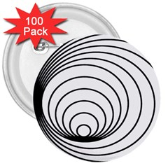 Spiral Eddy Route Symbol Bent 3  Buttons (100 Pack)