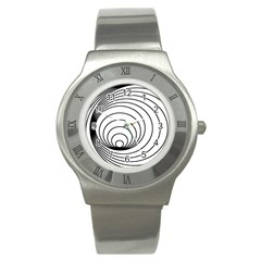 Spiral Eddy Route Symbol Bent Stainless Steel Watch