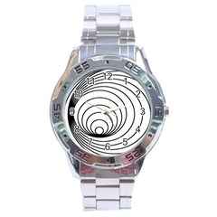 Spiral Eddy Route Symbol Bent Stainless Steel Analogue Watch