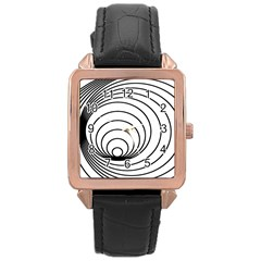 Spiral Eddy Route Symbol Bent Rose Gold Leather Watch