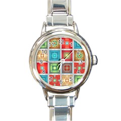 Tiles Pattern Background Colorful Round Italian Charm Watch