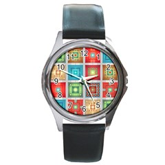 Tiles Pattern Background Colorful Round Metal Watch