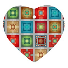 Tiles Pattern Background Colorful Ornament (heart)