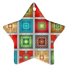 Tiles Pattern Background Colorful Ornament (star)