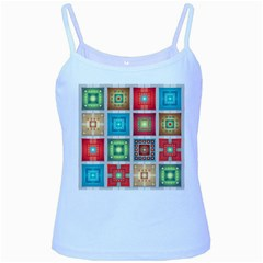 Tiles Pattern Background Colorful Baby Blue Spaghetti Tank