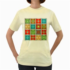 Tiles Pattern Background Colorful Women s Yellow T Shirt