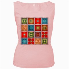 Tiles Pattern Background Colorful Women s Pink Tank Top