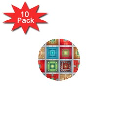 Tiles Pattern Background Colorful 1  Mini Magnet (10 Pack)
