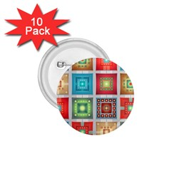 Tiles Pattern Background Colorful 1 75  Buttons (10 Pack)