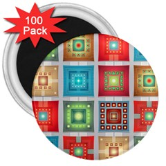 Tiles Pattern Background Colorful 3  Magnets (100 Pack)