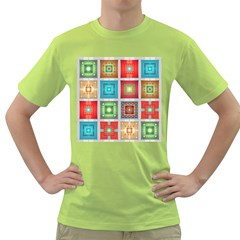 Tiles Pattern Background Colorful Green T Shirt