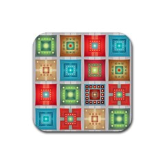 Tiles Pattern Background Colorful Rubber Square Coaster (4 Pack)