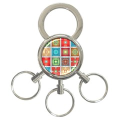 Tiles Pattern Background Colorful 3-Ring Key Chains
