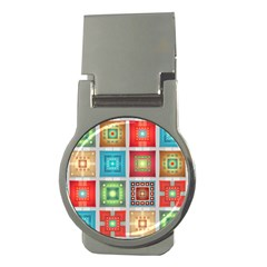 Tiles Pattern Background Colorful Money Clips (round)