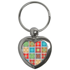 Tiles Pattern Background Colorful Key Chains (heart)