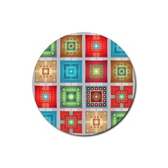 Tiles Pattern Background Colorful Rubber Coaster (round)