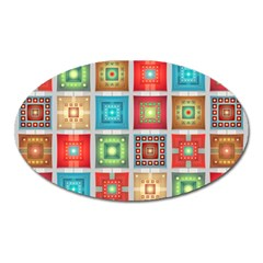 Tiles Pattern Background Colorful Oval Magnet