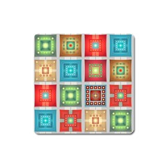 Tiles Pattern Background Colorful Square Magnet