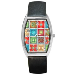 Tiles Pattern Background Colorful Barrel Style Metal Watch
