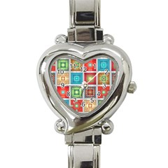 Tiles Pattern Background Colorful Heart Italian Charm Watch
