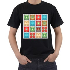 Tiles Pattern Background Colorful Men s T Shirt (black) (two Sided)