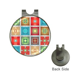Tiles Pattern Background Colorful Hat Clips With Golf Markers