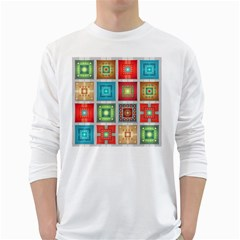 Tiles Pattern Background Colorful White Long Sleeve T Shirts