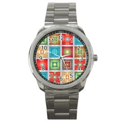 Tiles Pattern Background Colorful Sport Metal Watch