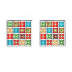 Tiles Pattern Background Colorful Cufflinks (square)