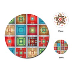 Tiles Pattern Background Colorful Playing Cards (round)