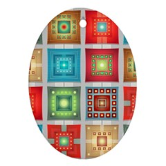 Tiles Pattern Background Colorful Oval Ornament (two Sides)