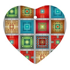 Tiles Pattern Background Colorful Heart Ornament (2 Sides)