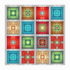 Tiles Pattern Background Colorful Medium Glasses Cloth (2 Side)