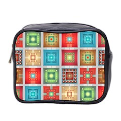 Tiles Pattern Background Colorful Mini Toiletries Bag 2 Side
