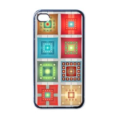 Tiles Pattern Background Colorful Apple Iphone 4 Case (black)