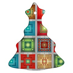 Tiles Pattern Background Colorful Christmas Tree Ornament (2 Sides)