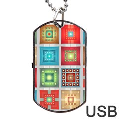 Tiles Pattern Background Colorful Dog Tag Usb Flash (one Side)