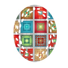 Tiles Pattern Background Colorful Oval Filigree Ornament (2 Side)