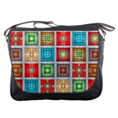 Tiles Pattern Background Colorful Messenger Bags