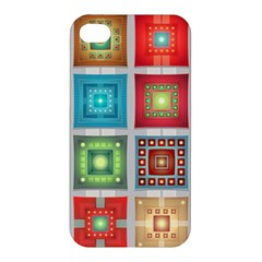 Tiles Pattern Background Colorful Apple Iphone 4/4s Premium Hardshell Case