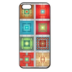 Tiles Pattern Background Colorful Apple Iphone 5 Seamless Case (black)