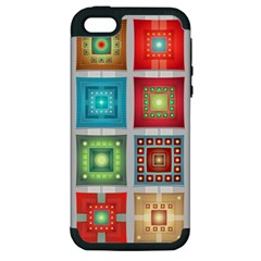 Tiles Pattern Background Colorful Apple Iphone 5 Hardshell Case (pc+silicone)